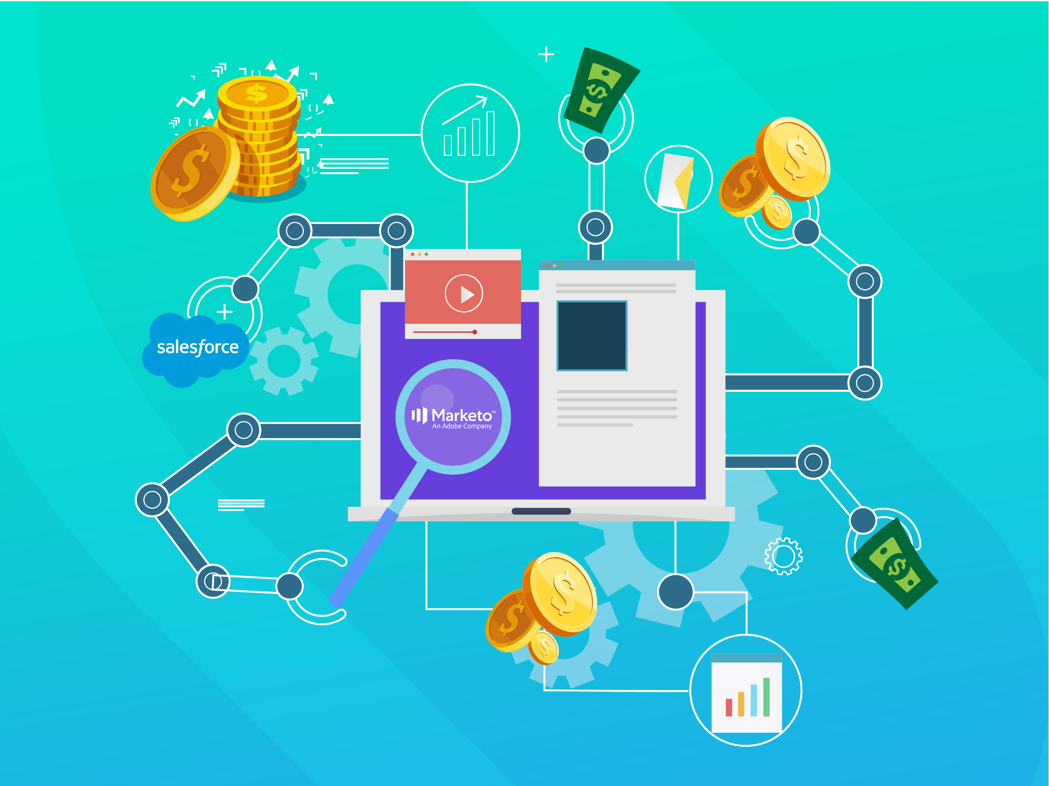 illustration of Salesforce and Marketo logos with coins