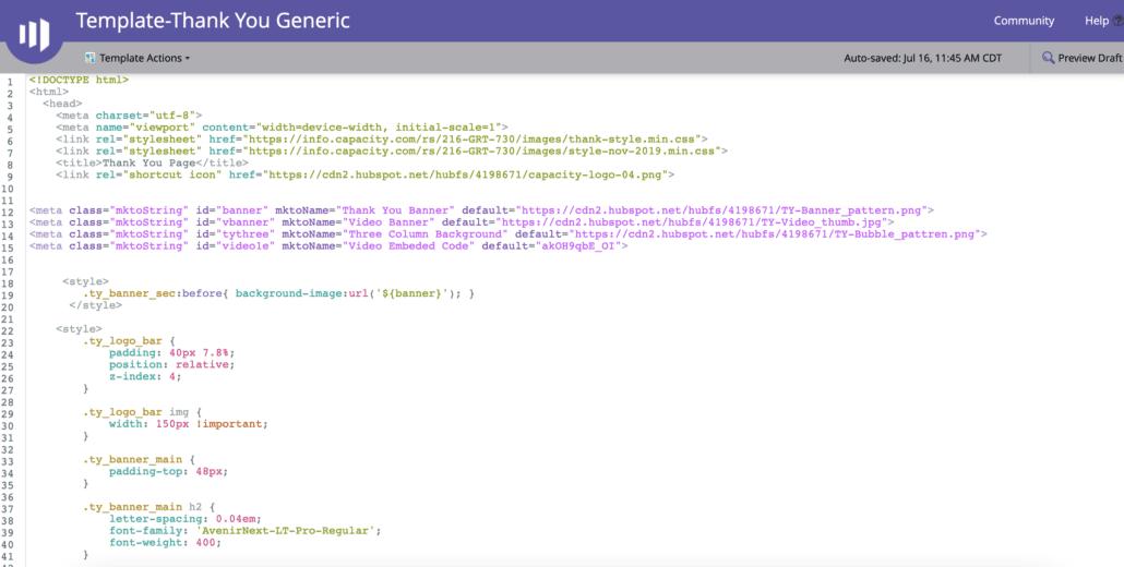 sample marketo landing page template code